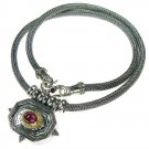Gerochristo 3058 - Solid Gold, Silver & Tourmaline - Byzantine-Medieval Necklace