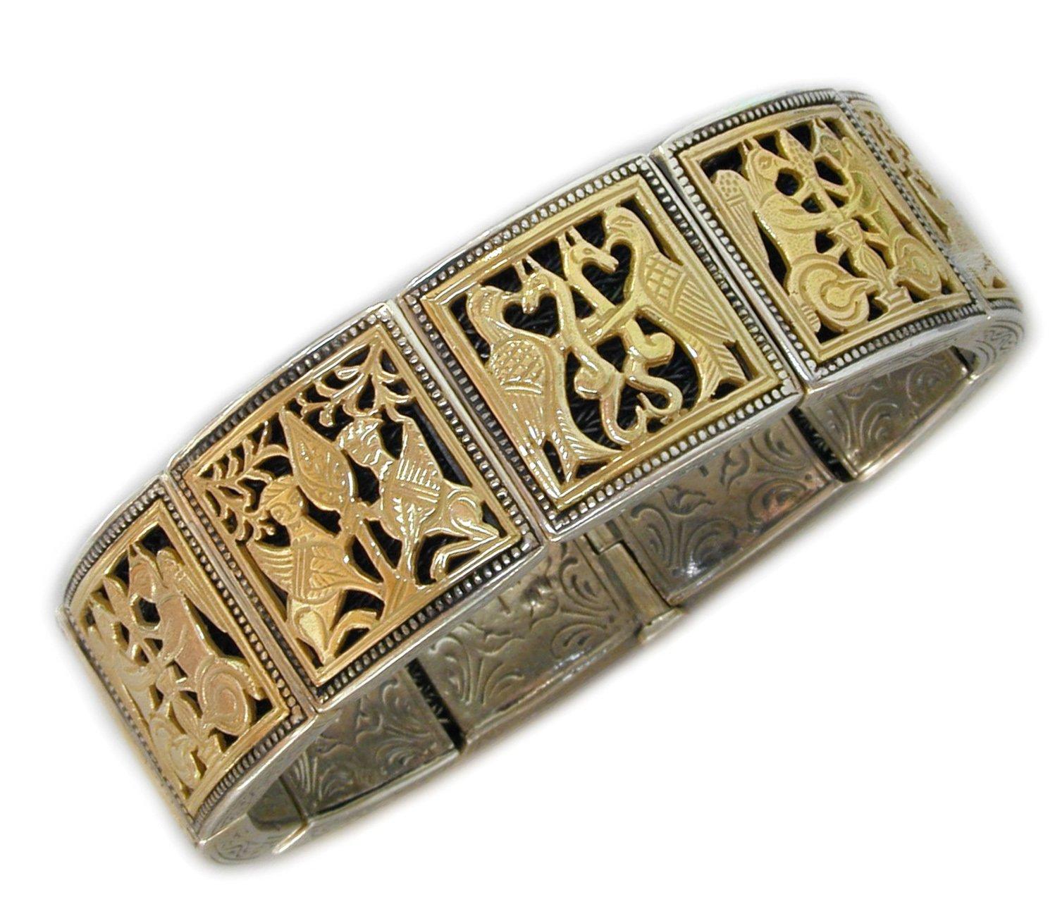 Gerochristo 6097 - Solid 18K Gold & Sterling Silver Medieval Bracelet