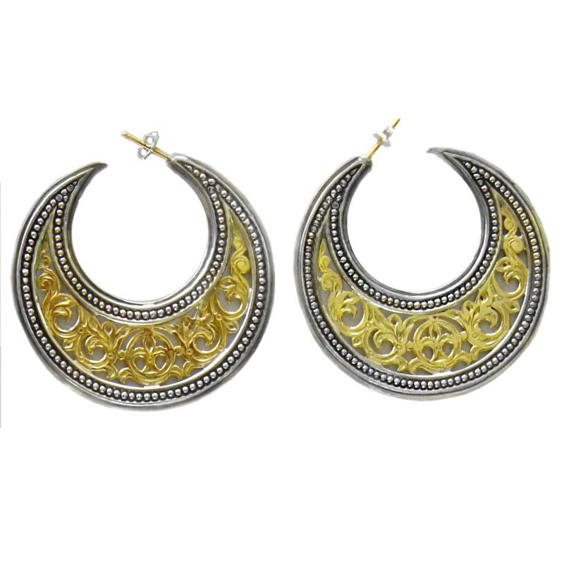 Gerochristo 1251- Solid Gold & Silver Medieval-Byzantine Crescent Earrings - L