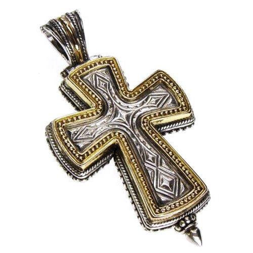 Gerochristo 5208 -Solid Gold & Silver Medieval-Byzantine Locket Cross Pendant