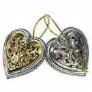 Gerochristo 1354 - Solid Gold, Silver & Rubies Filigree Heart Earrings
