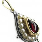 Gerochristo 1196 - Gold, Silver, Tourmaline & Pearls Medieval-Byzantine Pendant