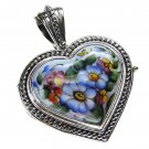 Gerochristo 3425 - Sterling Silver & Painted Porcelain Heart Locket Pendant -L