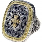 Gerochristo 2625- Maltese Cross- Solid 18K Gold & Silver Medieval Ring / size 7