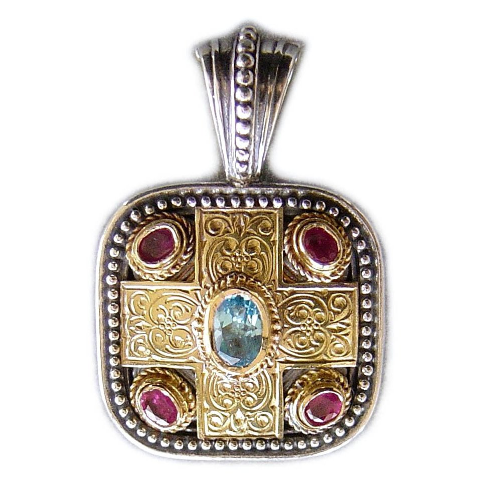 Gerochristo 3290 - Gold, Silver, Topaz & Rubies - Medieval-Byzantine Pendant