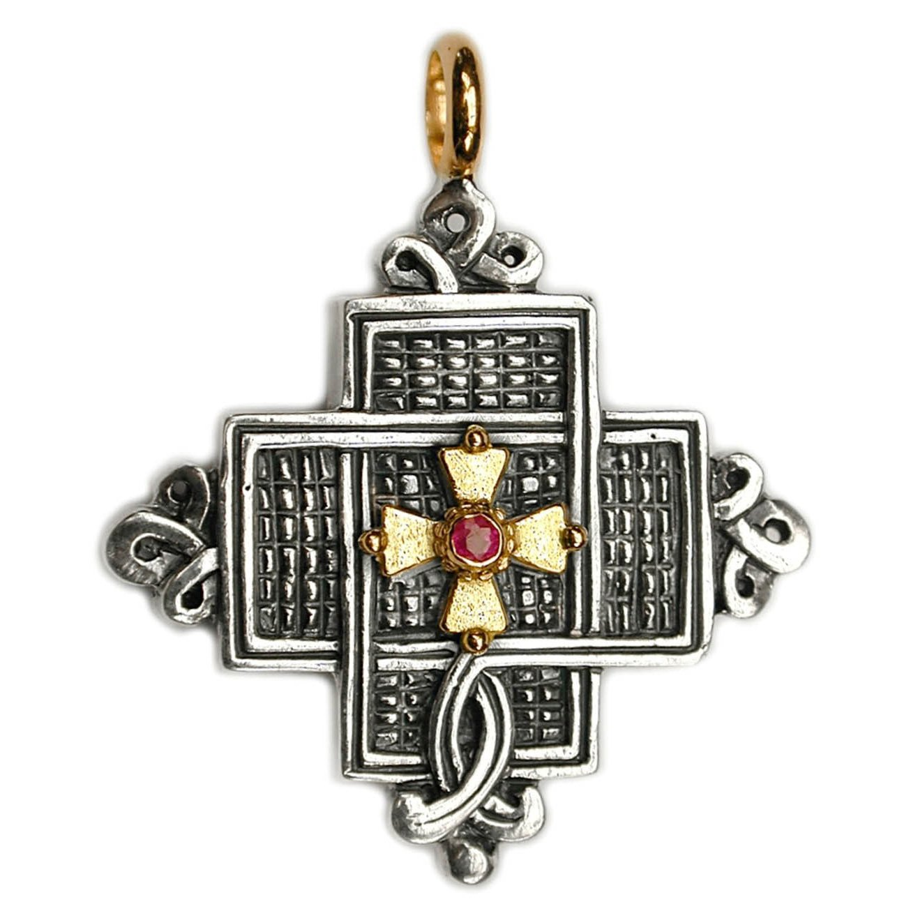 Gerochristo 5054 - Solid 18K Gold, Sterling Silver & Ruby Coptic Cross Pendant
