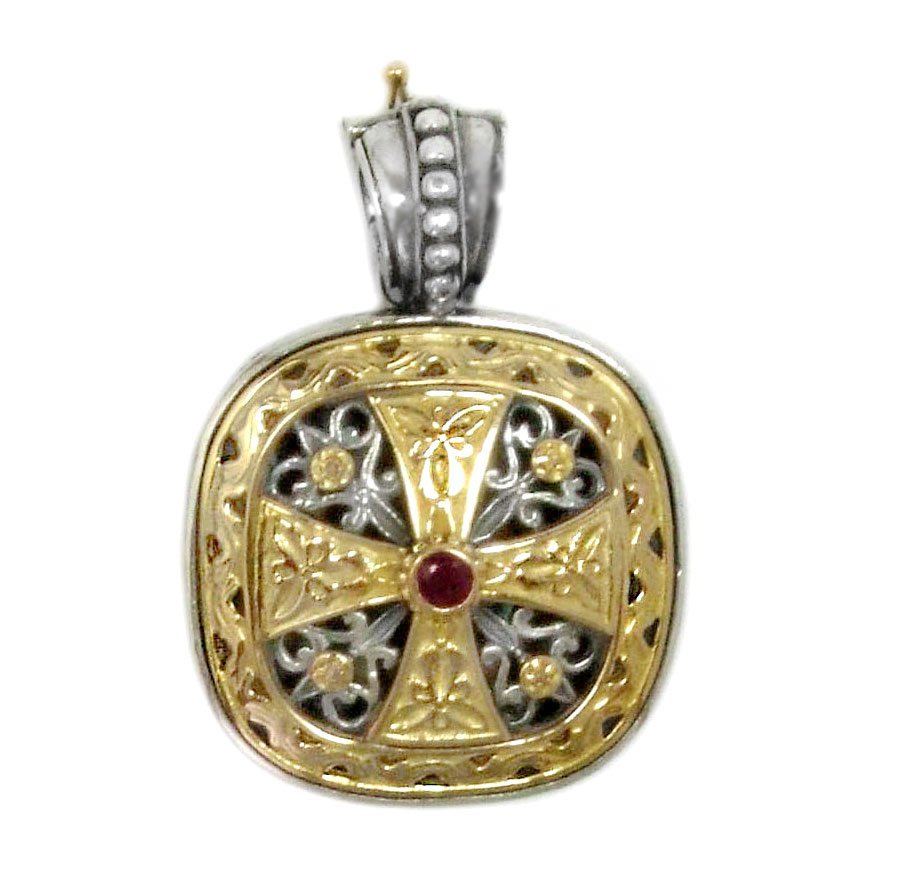 Gerochristo 3316 -Solid Gold, Silver & Ruby - Medieval-Byzantine Cross Pendant