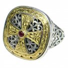 Gerochristo 2499 - Gold, Silver & Ruby -Medieval-Byzantine Cross Ring / size 7