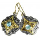Gerochristo 1211 - Gold, Silver & Aquamarine Medieval-Byzantine Earrings