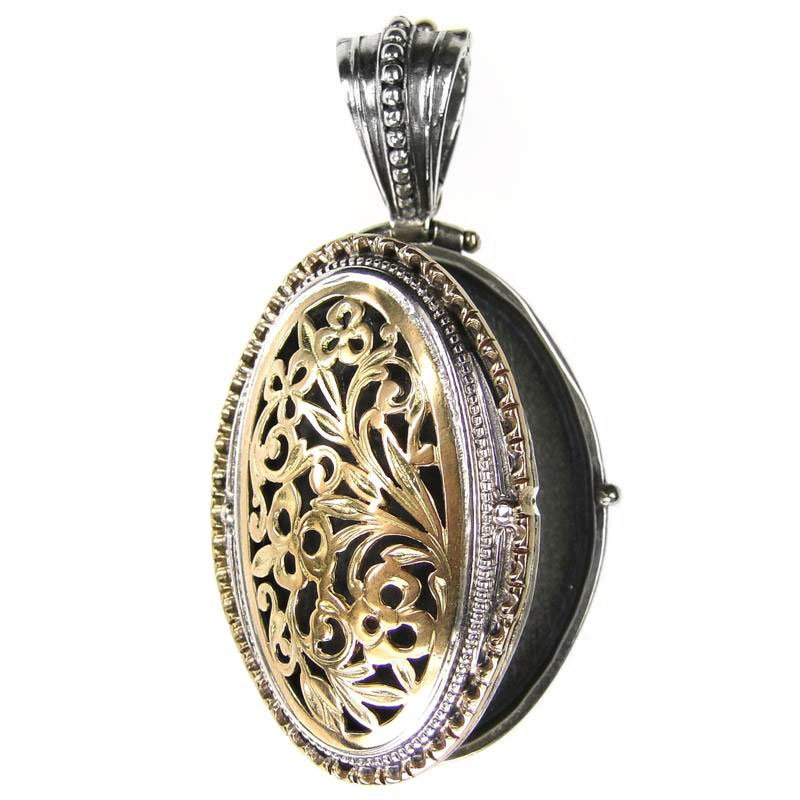 Gerochristo 3321 - Gold & Silver - Medieval-Byzantine Filigree Locket Pendant