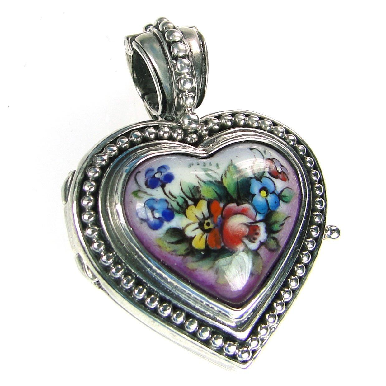 Gerochristo 3435 - Silver & Painted Porcelain Heart Locket Pendant - S