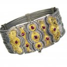 Gerochristo 6025 - Solid Gold, Silver & Rubies Multi Chain Byzantine Bracelet