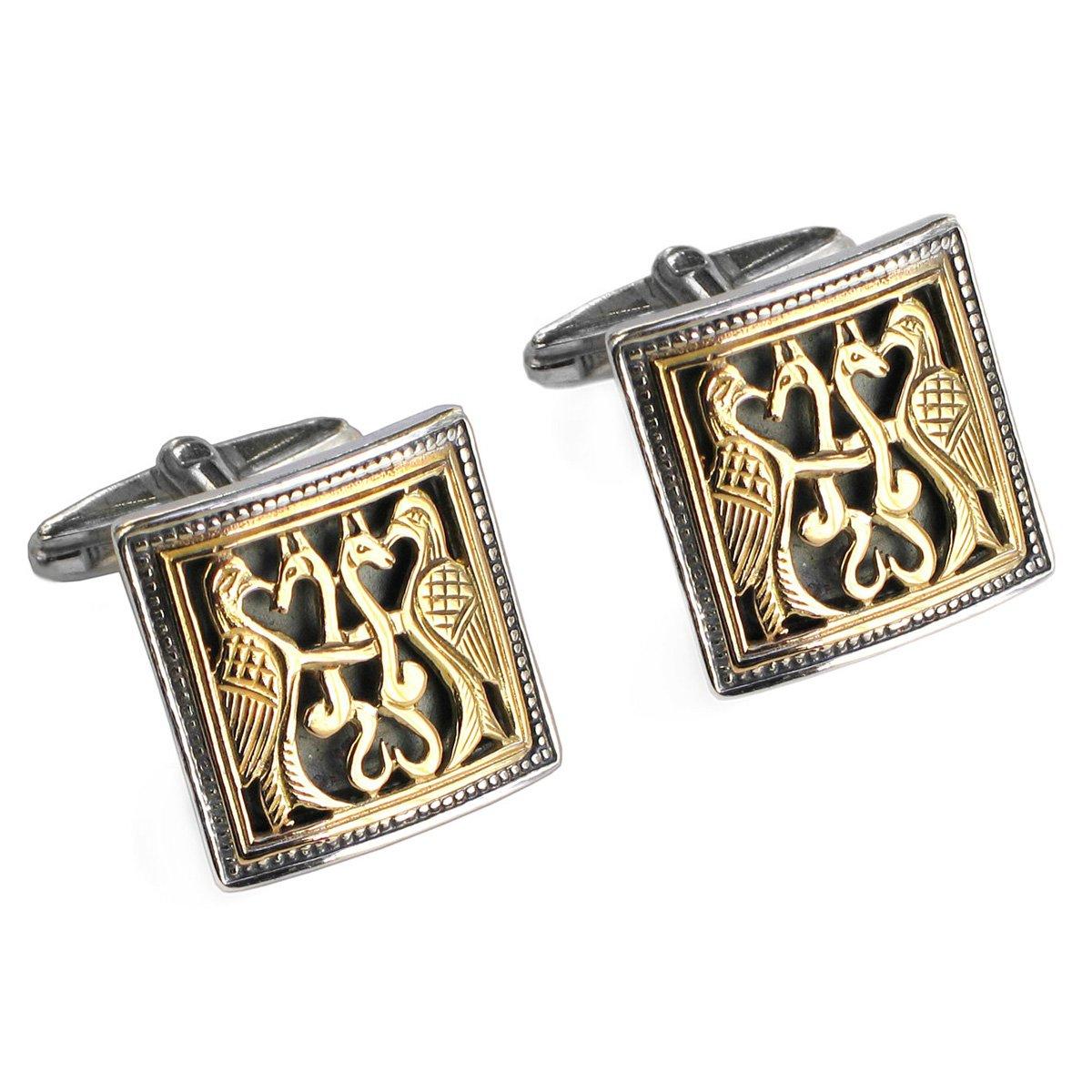 Gerochristo 7011 - Solid 18K Gold & Silver Medieval Byzantine Cufflinks