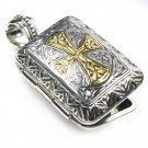 Gerochristo 3349 -Solid 18K Gold & Silver Engraved Rectangular Locket Pendant