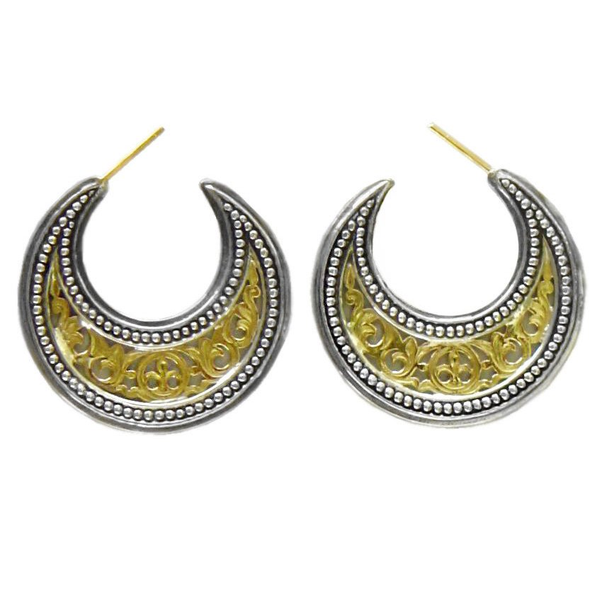 Gerochristo 1252 -Solid Gold & Silver Medieval-Byzantine Crescent Earrings -M