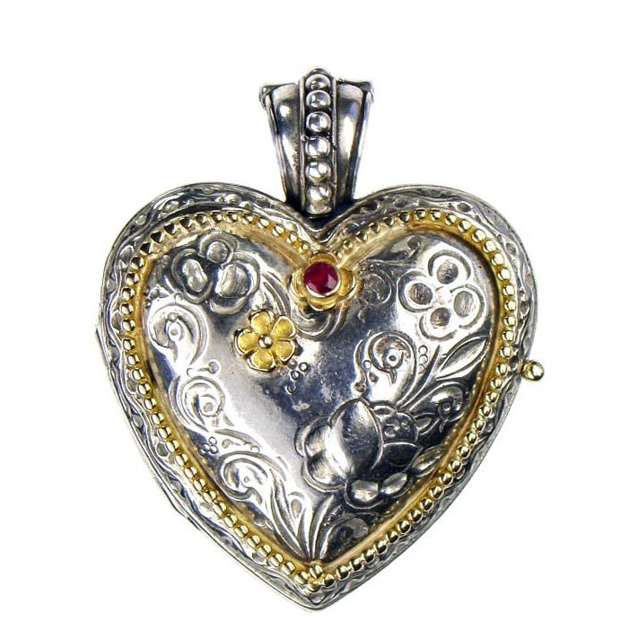 Gerochristo 3277 - Solid Gold, Silver & Ruby Engraved Heart Locket Pendant