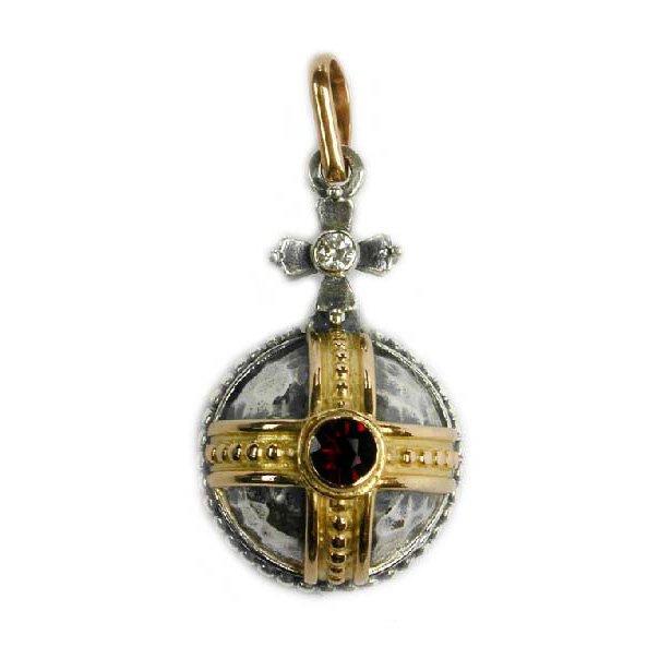 Gerochristo 3063 -Solid 18K Gold, Silver & Garnet Medieval-Byzantine Pendant
