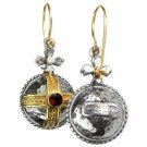 Gerochristo 3063 - Solid 18K Gold, Silver & Garnet Medieval-Byzantine Earrings