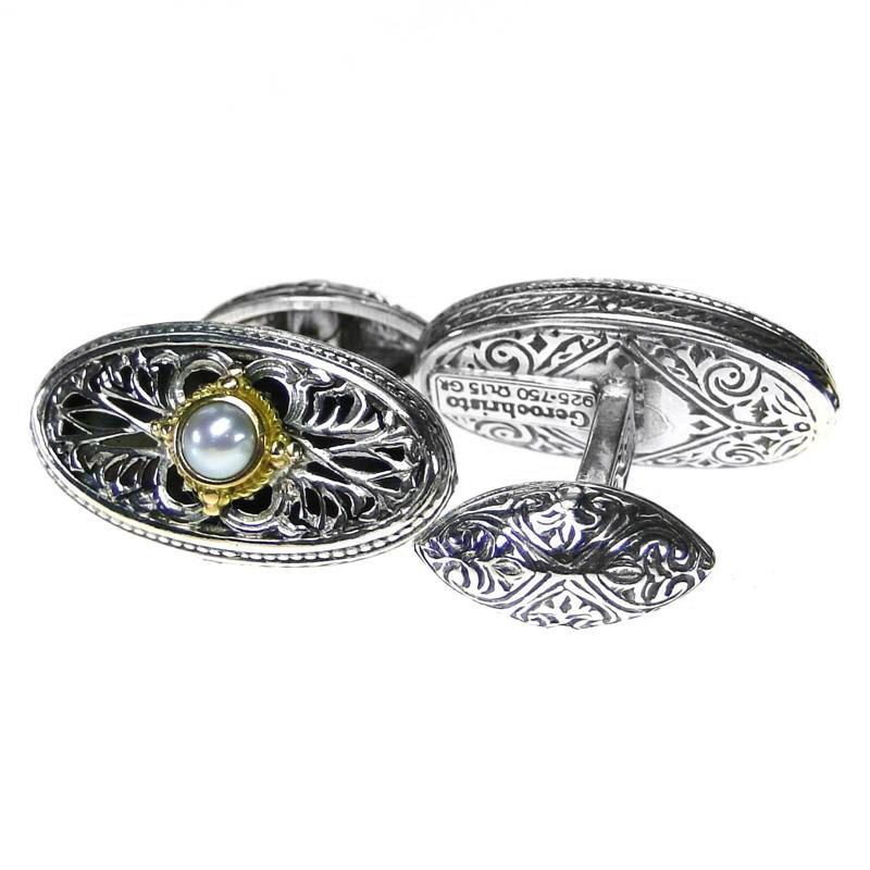 Gerochristo 7115 - Solid Gold, Silver & Pearls Medieval Byzantine Cufflinks