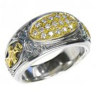 Gerochristo 2620 - Gold, Silver & Diamonds Medieval-Byzantine Cross Ring/ size 7
