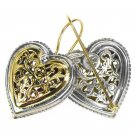 Gerochristo 1249 - Solid Gold & Sterling Silver Heart Earrings