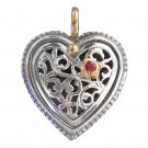 Gerochristo 1275 - Solid 18K Gold, Silver & Ruby Filigree Heart Pendant