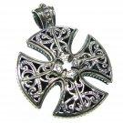 Gerochristo 5417 - Sterling Silver Maltese Cross Pendant