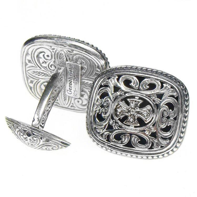 Gerochristo 7080 - Sterling Silver Medieval-Byzantine Cross Cufflinks
