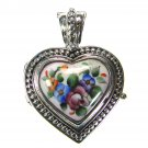 Gerochristo 3433 - Silver & Painted Porcelain Heart Locket Pendant - S
