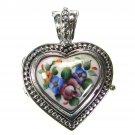 Gerochristo 3433 - Silver & Painted Porcelain Heart Locket Pendant - S