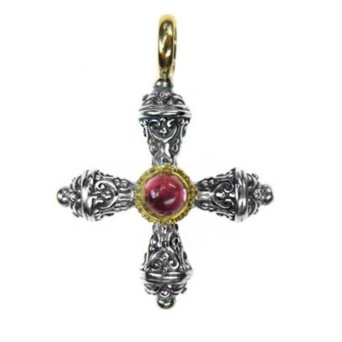 Gerochristo 5274 - Gold, Silver & Tourmaline Medieval-Byzantine Cross Pendant