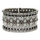 Gerochristo 6005 - Solid Sterling Silver & Garnet Medieval-Byzantine Bracelet