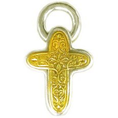 Gerochristo 5296 - Solid Gold & Sterling Silver Byzantine Cross Pendant