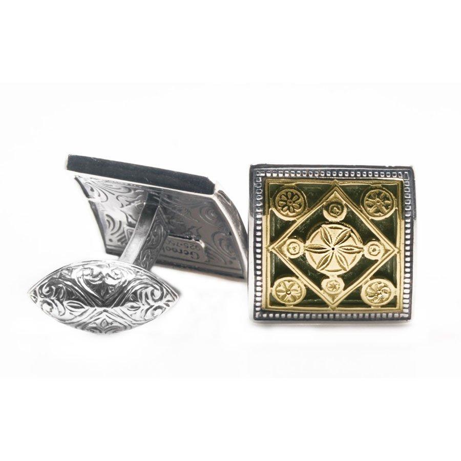 Gerochristo 7012 - Solid 18K Gold & Silver Medieval Byzantine Cufflinks
