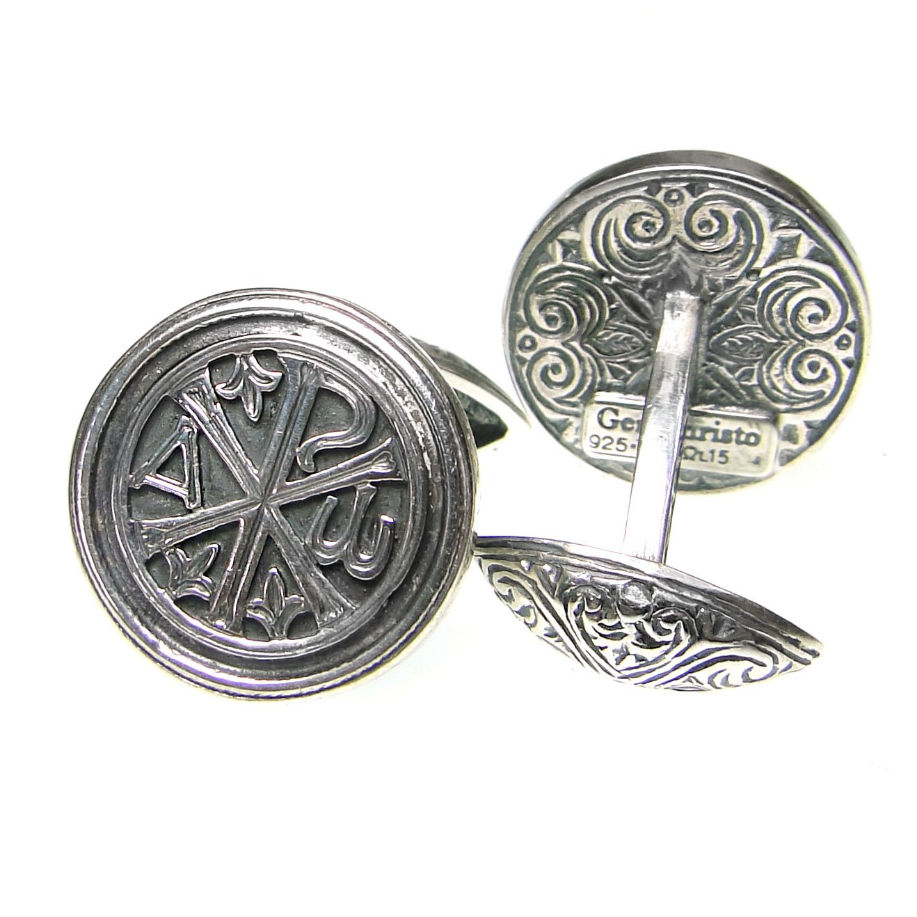 Gerochristo 7126 - Chi Rho-Chrismon - Silver Medieval Byzantine Cufflinks