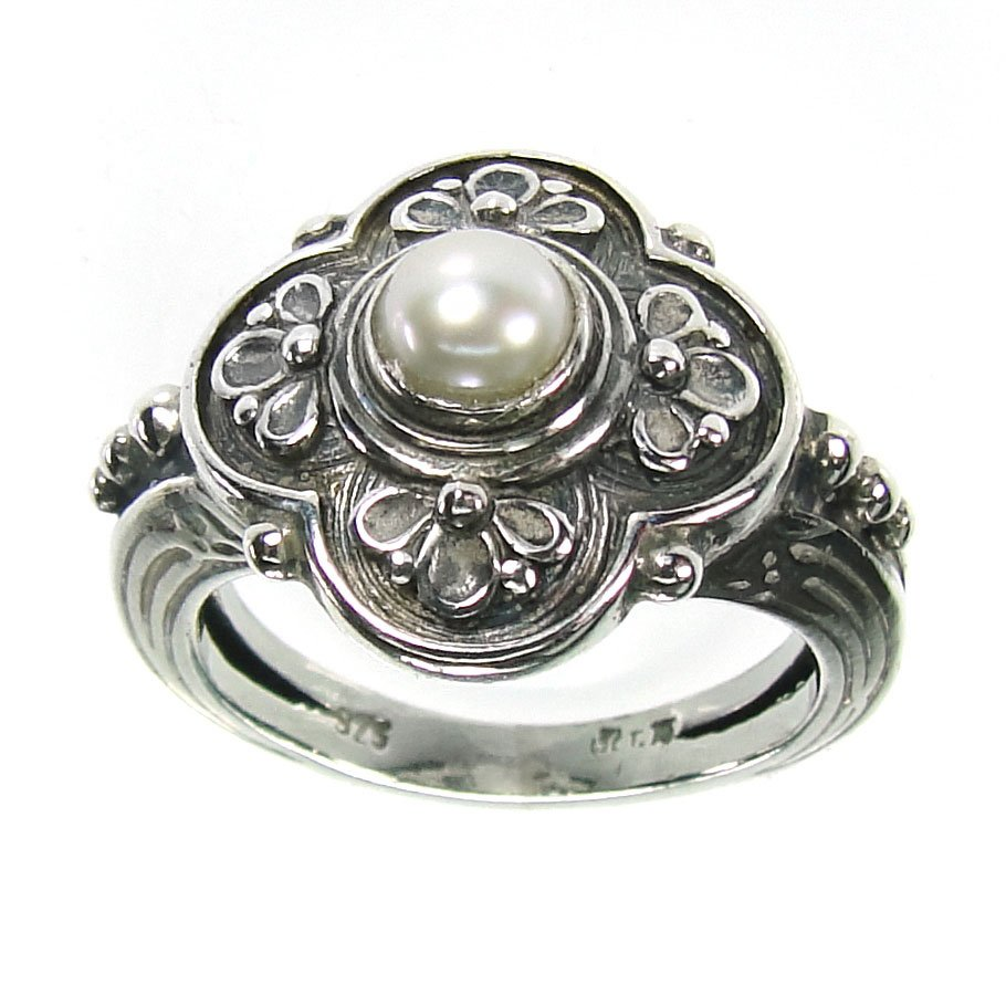 Gerochristo 2759 -Sterling Silver & Pearl - Medieval-Byzantine Ring / size 7