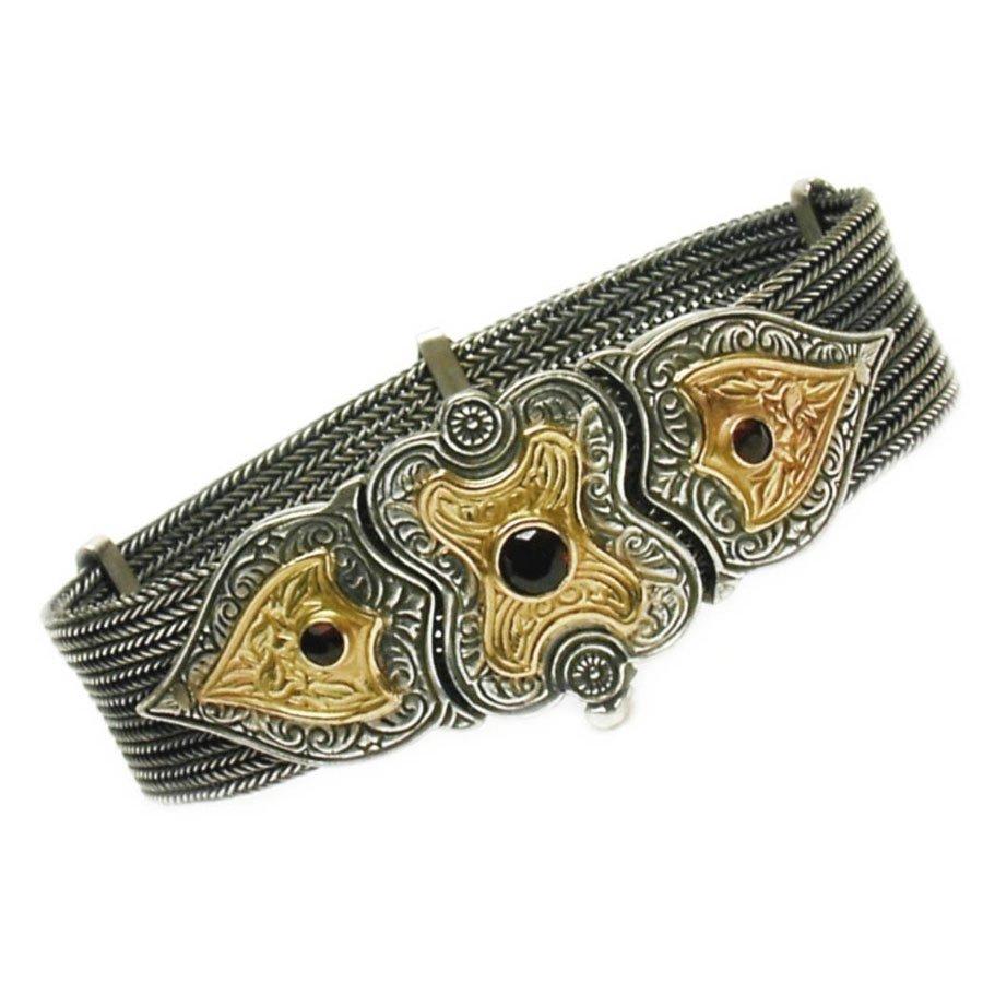 Gerochristo 6029 - Solid Gold, Silver & Garnet Multi Chain Byzantine Bracelet