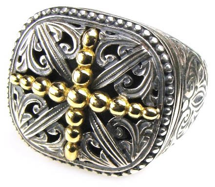 Gerochristo 2541- Solid Gold & Sterling Silver Medieval Cross Ring / size 7