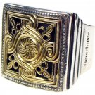 Gerochristo 2236 - Solid Gold & Sterling Silver Medieval-Byzantine Ring / size 7