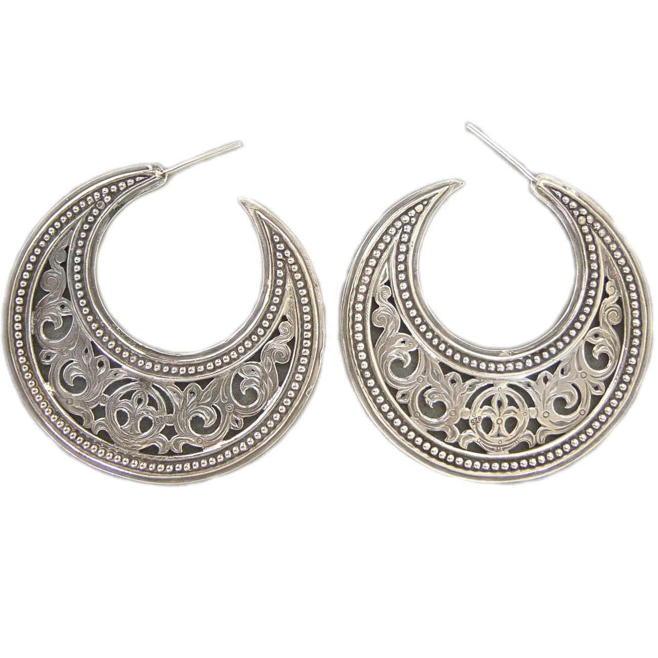 Gerochristo 1164 - Sterling Silver Medieval Byzantine Crescent Earrings - L