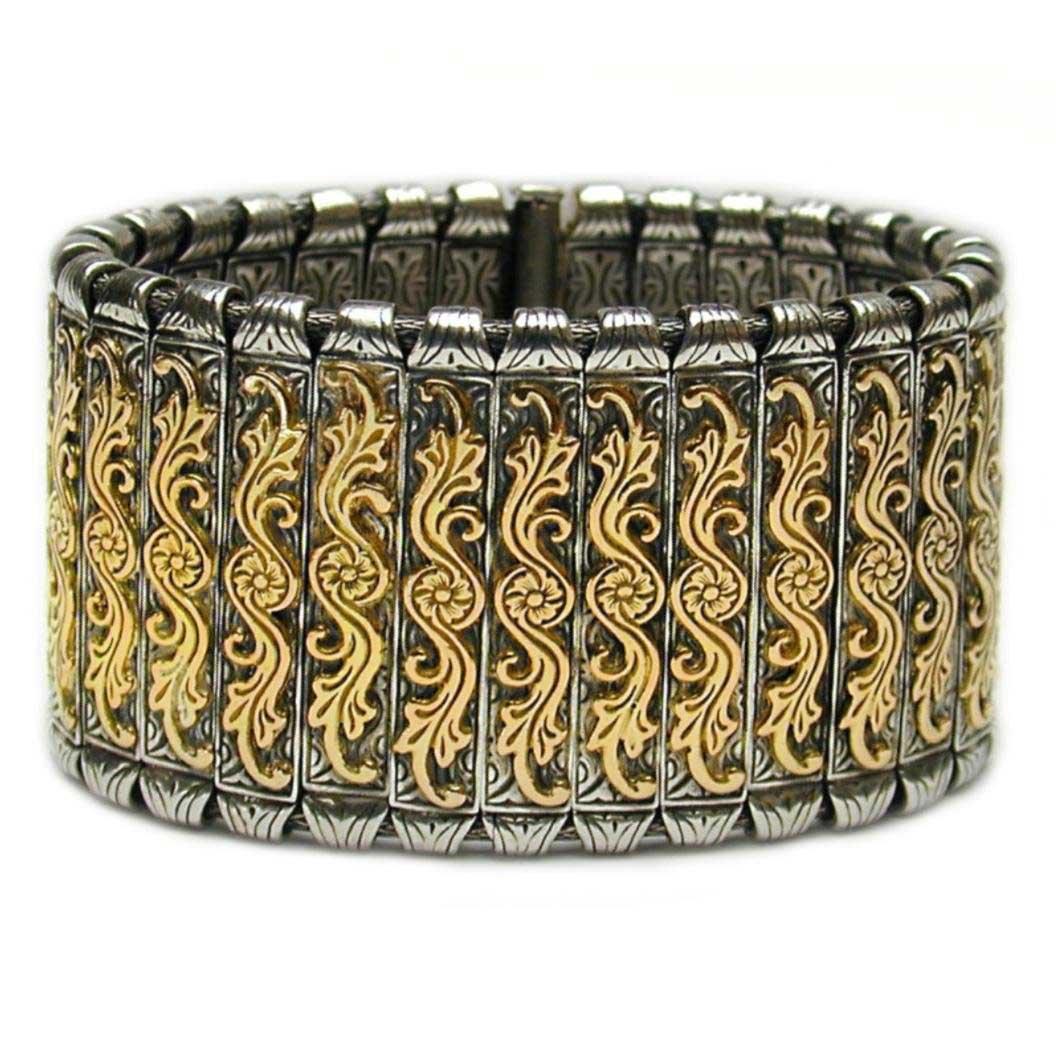 Gerochristo 6023 Solid 18K Gold & Sterling Silver Medieval Byzantine Bracelet