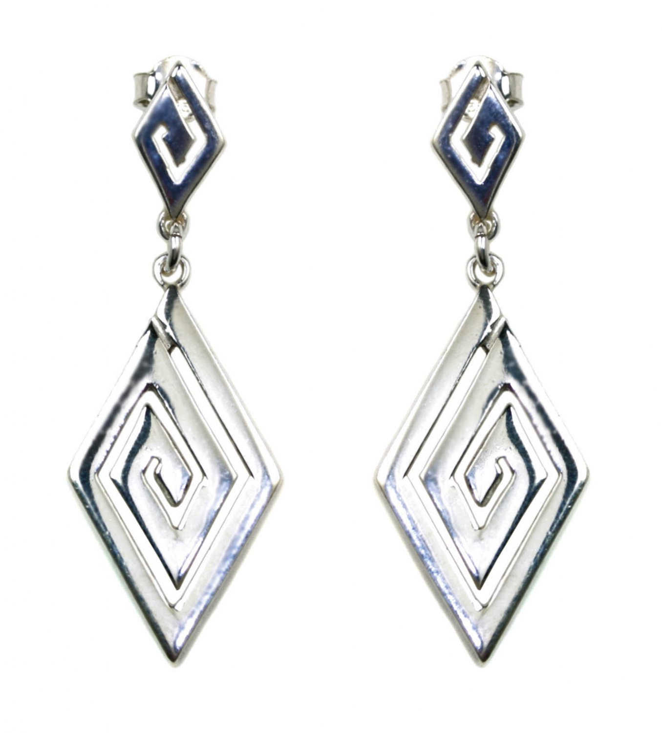 Meander-Greek Key - Sterling Silver Dangle Earrings