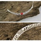 Meander-Greek Key - Sterling Silver Necklace with Coral