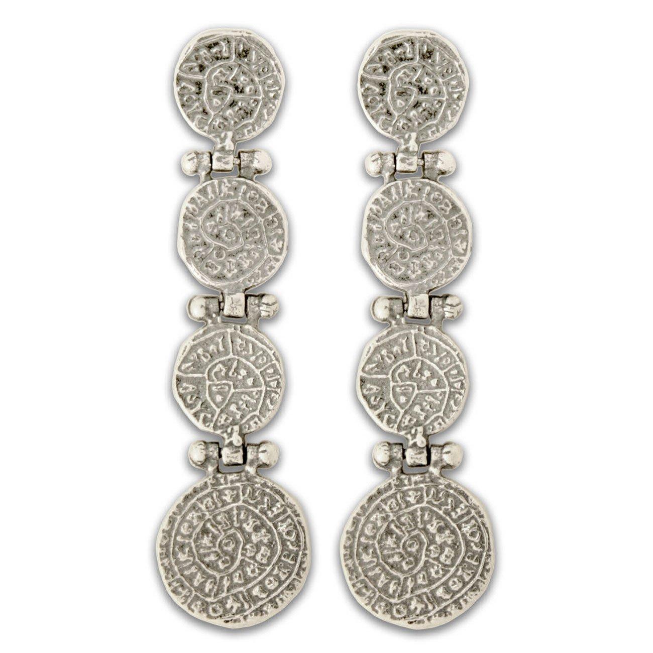 Minoan Phaistos Disk - Sterling Silver Pierced Earrings ~ 4 Disks
