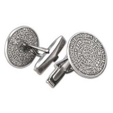 Minoan Phaistos Disk - Sterling Silver Cufflinks