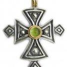 Gerochristo 5053 - Solid 18K Gold, Silver & Peridot Coptic Cross Pendant