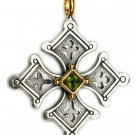 Gerochristo 5057 - Solid 18K Gold & Sterling Silver Coptic Cross Pendant