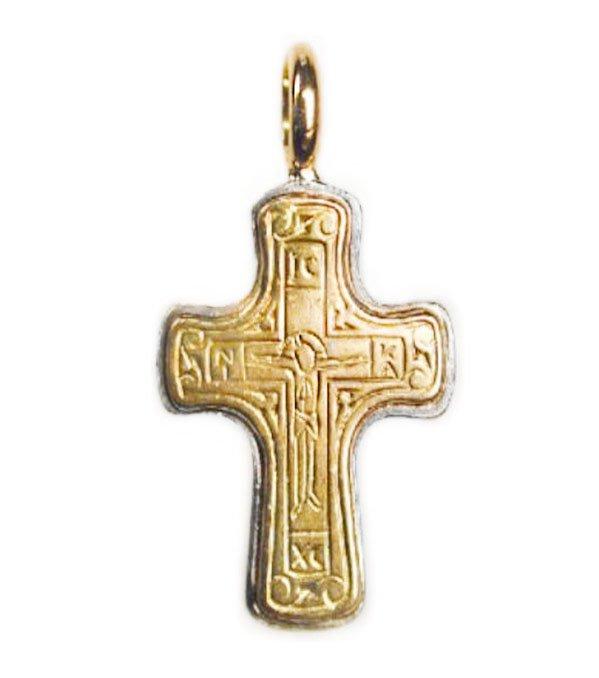 Gerochristo 5065 - Solid 18K Gold & Silver Byzantine Cross Pendant