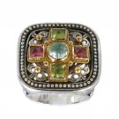 Gerochristo 2484 -Gold, Silver & Stones Multicolor Medieval-Byzantine Ring /s 7