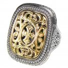 Gerochristo 2622 - Solid Gold & Silver Medieval-Byzantine Cross Ring / size 7